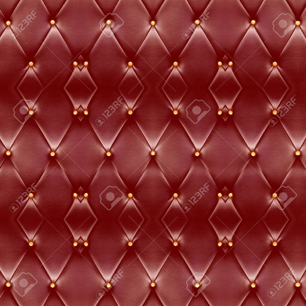 Texture Beautiful Deep Red Leather Sofa With Golden Buttons