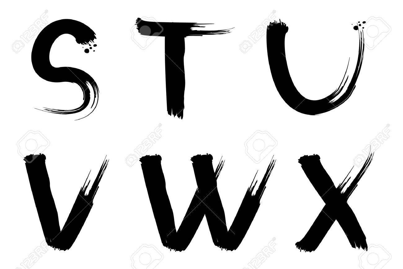 set of vector painted letters for design stock vector 4527227