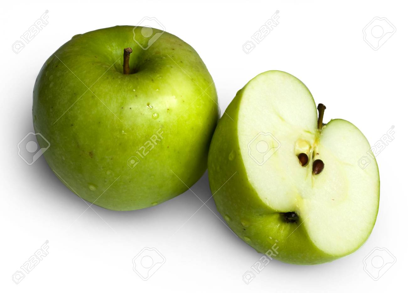 Two green apples isolated on white background Stock Photo - 4582381