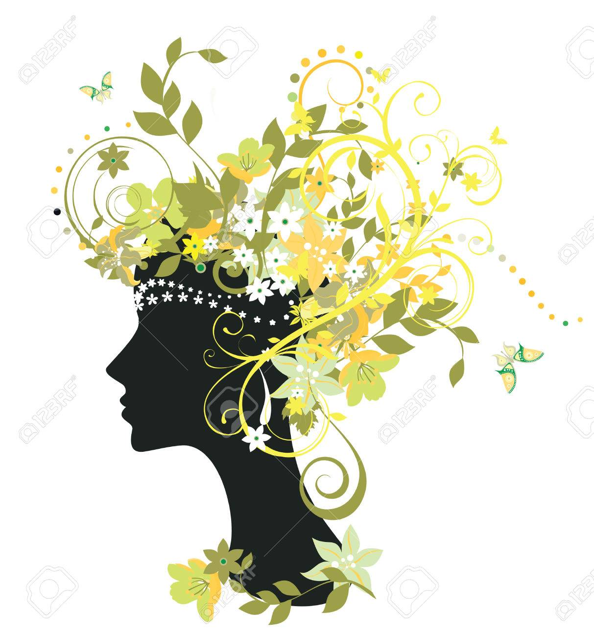 Decorative silhouette of woman with flowers Stock Vector - 4855773