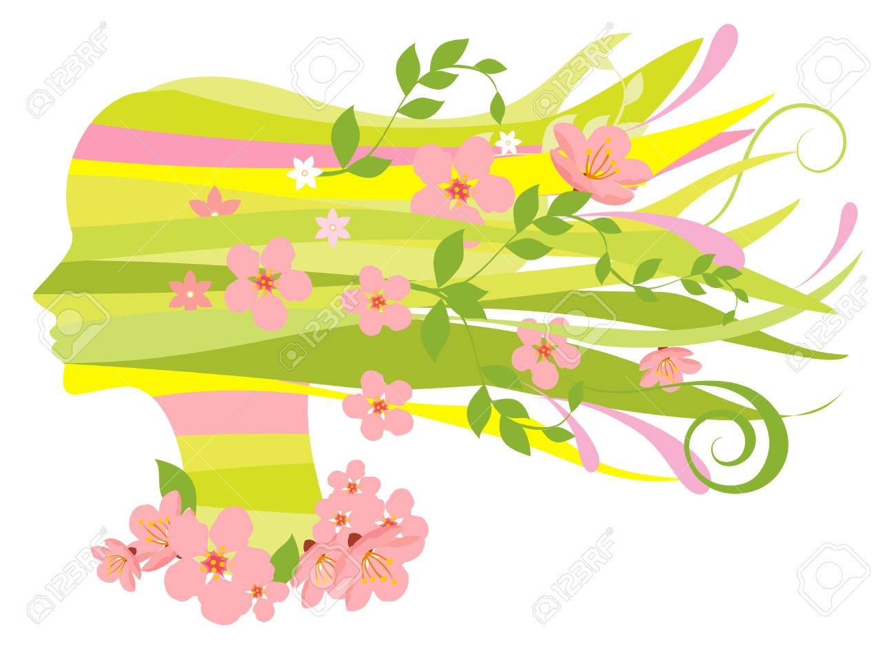 Decorative silhouette of woman with flowers Stock Vector - 5414038