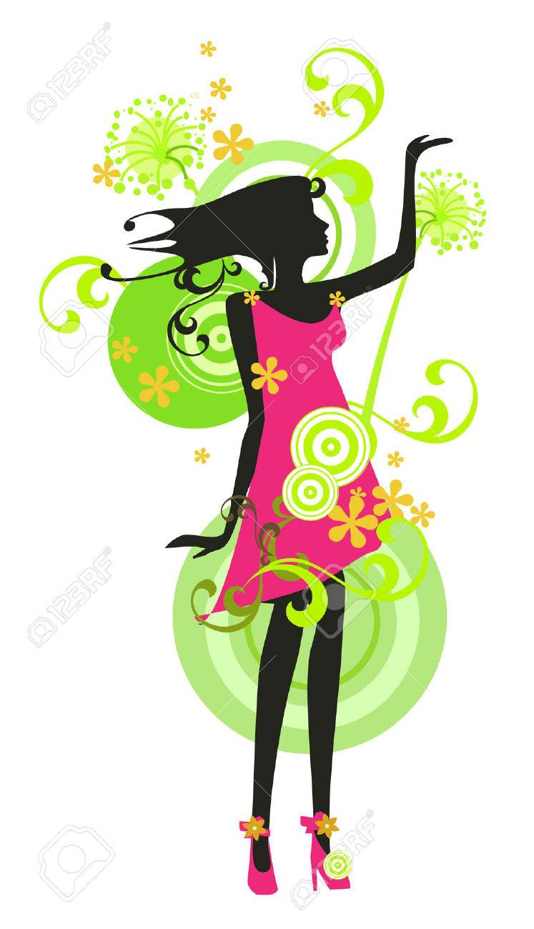 Beautiful woman with flowers Stock Vector - 8058380