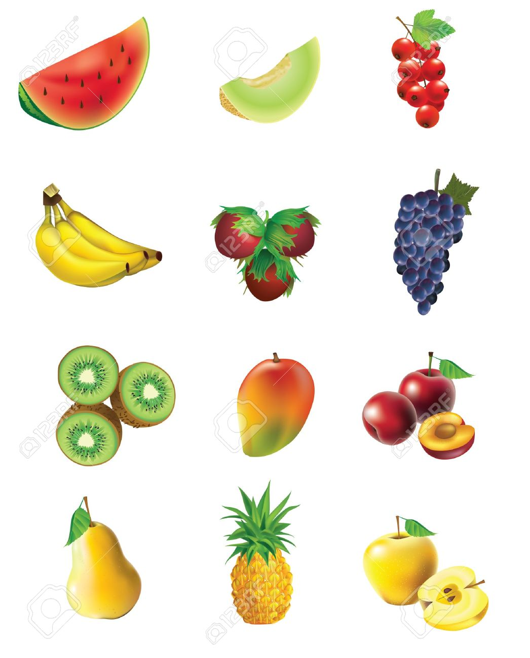 Fruits and vegetables, set of isolated, detailed vector illustrations and icons Stock Vector - 11138244