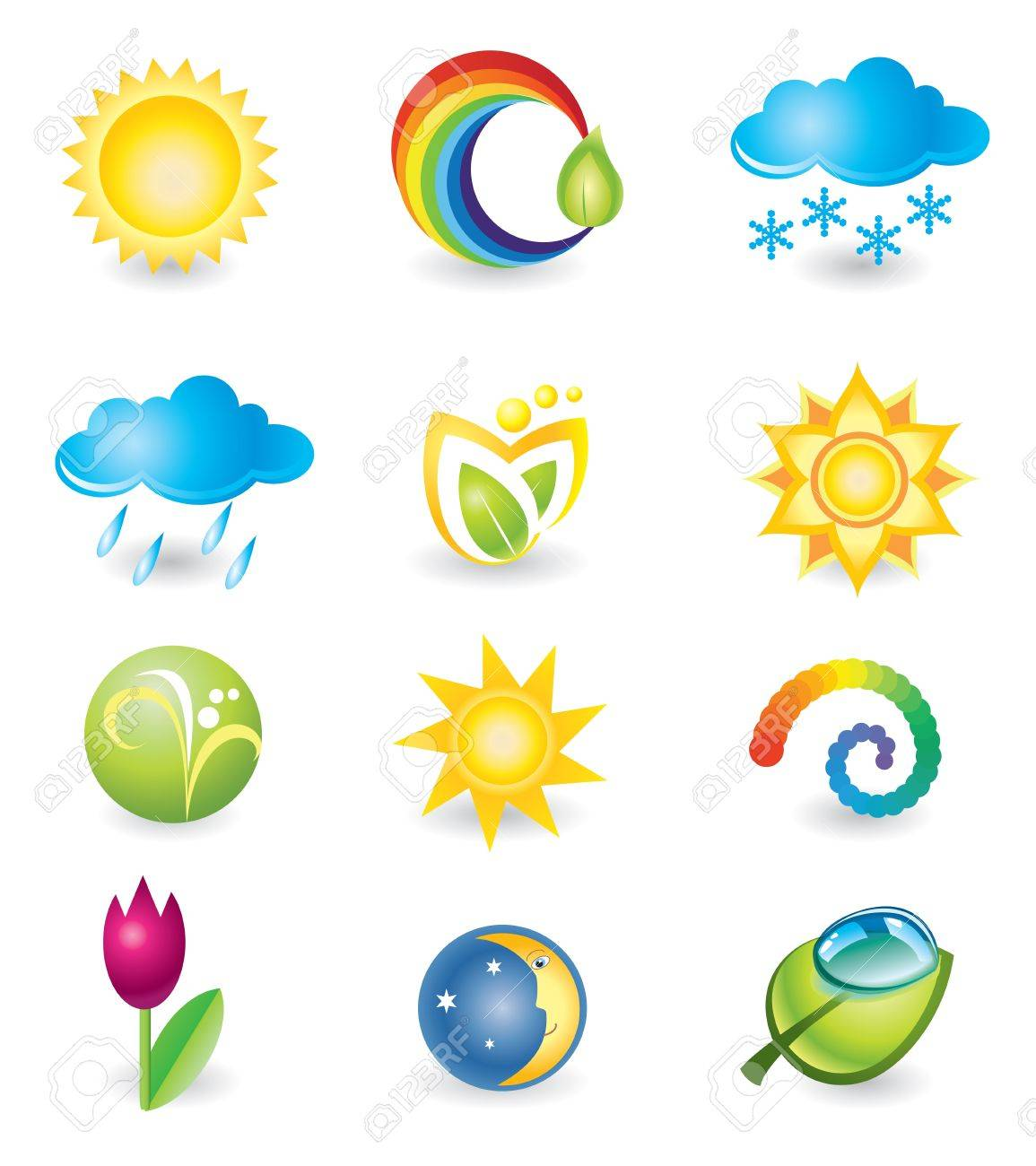 Set of design elements  Nature and weather Stock Vector - 17093426