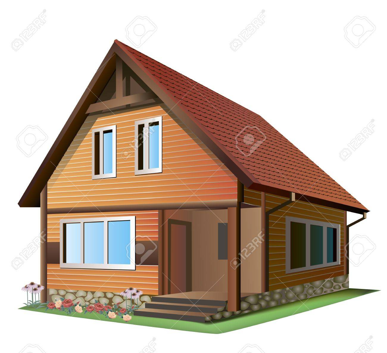 Illustration Of Small House With Tile Roof On A White Background Royalty Free Cliparts Vectors And Stock Illustration Image 17448846
