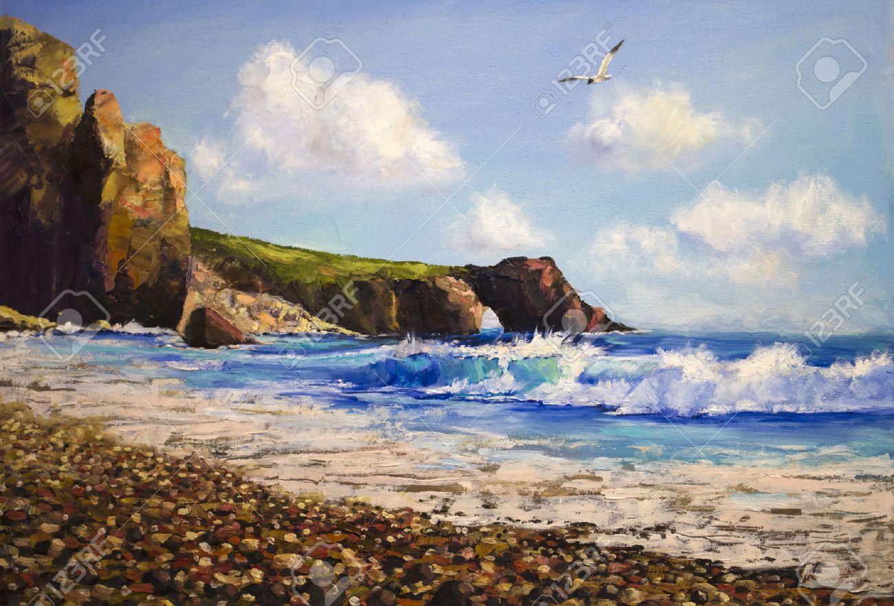 Peinture à L'huile Sur Toile, Paysage De