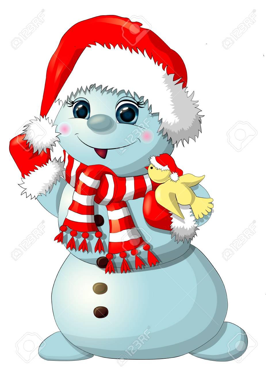 Immagini Di Natale Pupazzi Di Neve.Pupazzo Di Neve Divertente Isolato Illustrazione Di Riserva Pupazzo Di Neve Di Natale Pupazzo Di Neve Con Uccello Pupazzo Di Neve Con Cappello Di