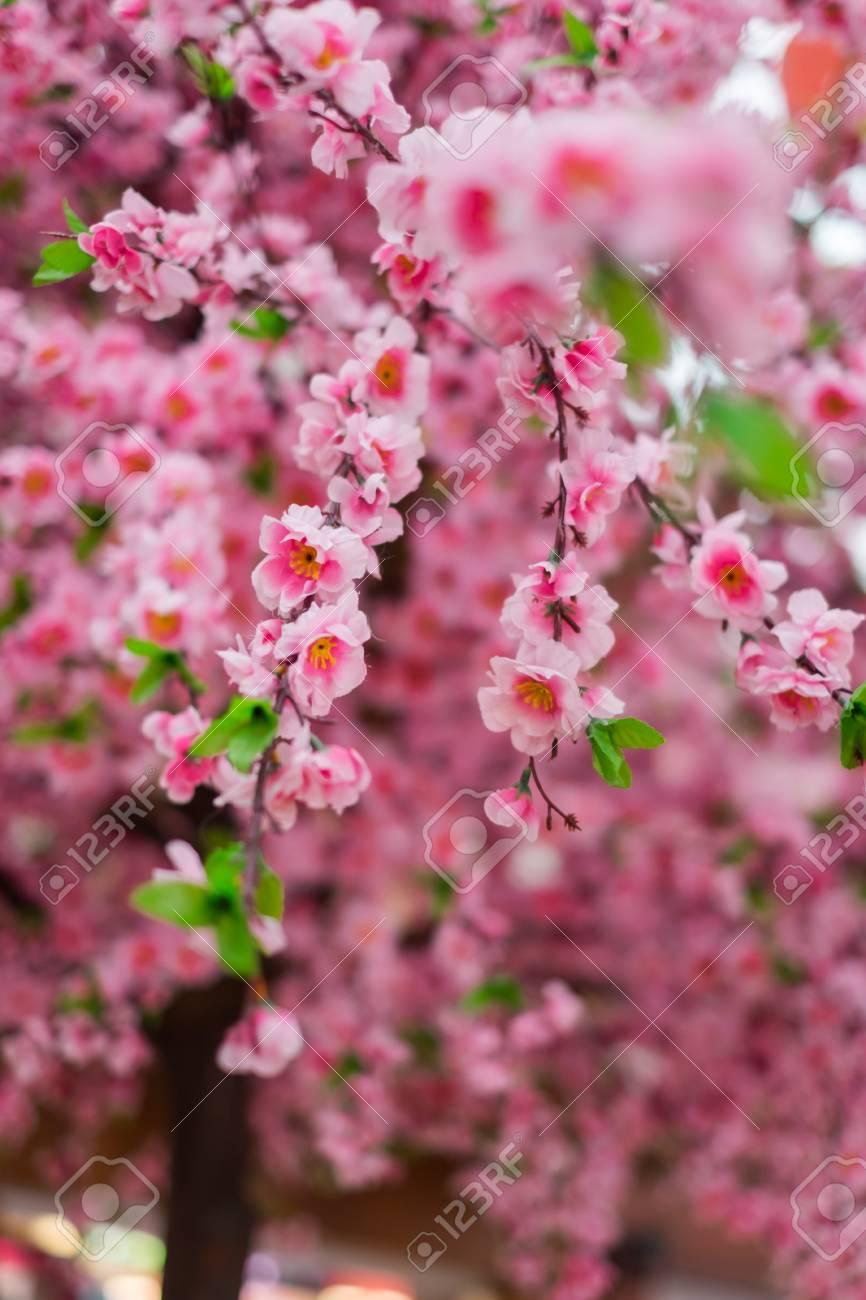 Close up of fake pink sakura flowers in japanese style shopping close up of fake pink sakura flowers in japanese style shopping mall stock photo mightylinksfo