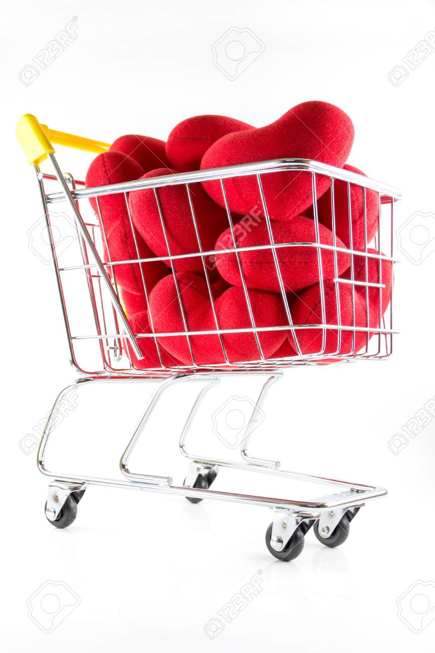 Many red hearts in shopping cart and fall on the floor Stock Photo - 17502403