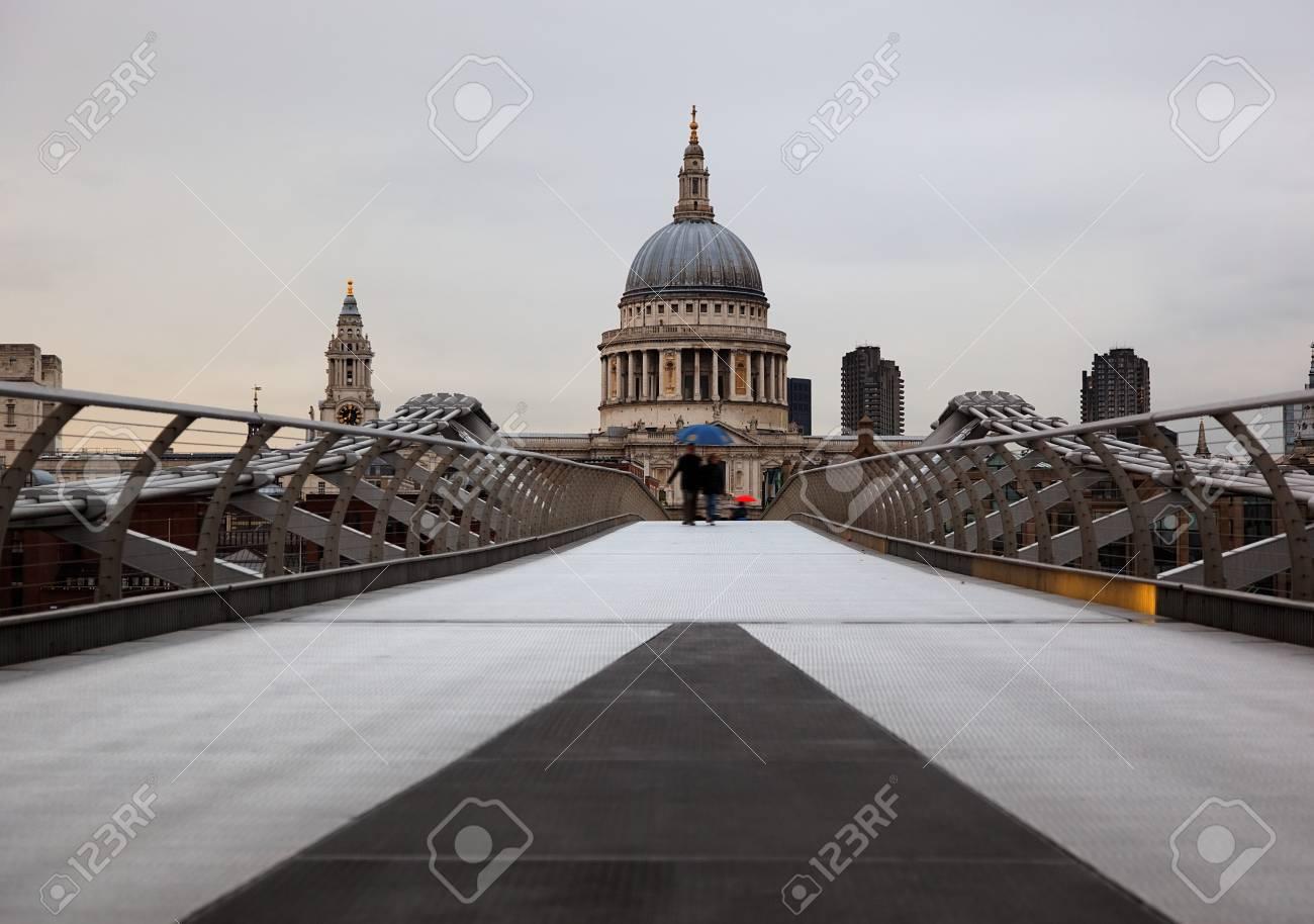 View  to St Pauls from Millenium Bridge. London. UK. Stock Photo - 7406723