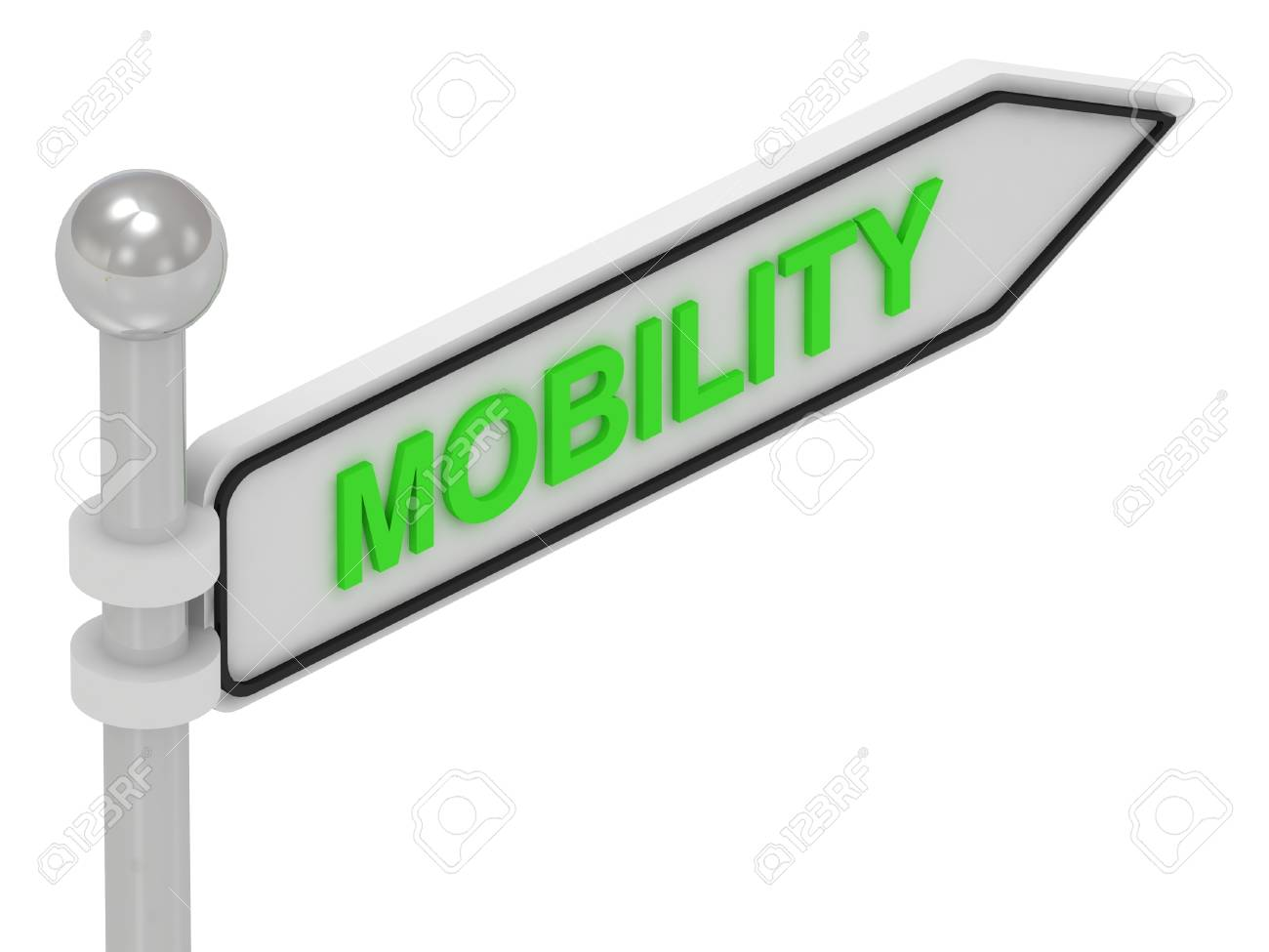 MOBILITY arrow sign with letters on isolated white background Stock Photo - 14615354
