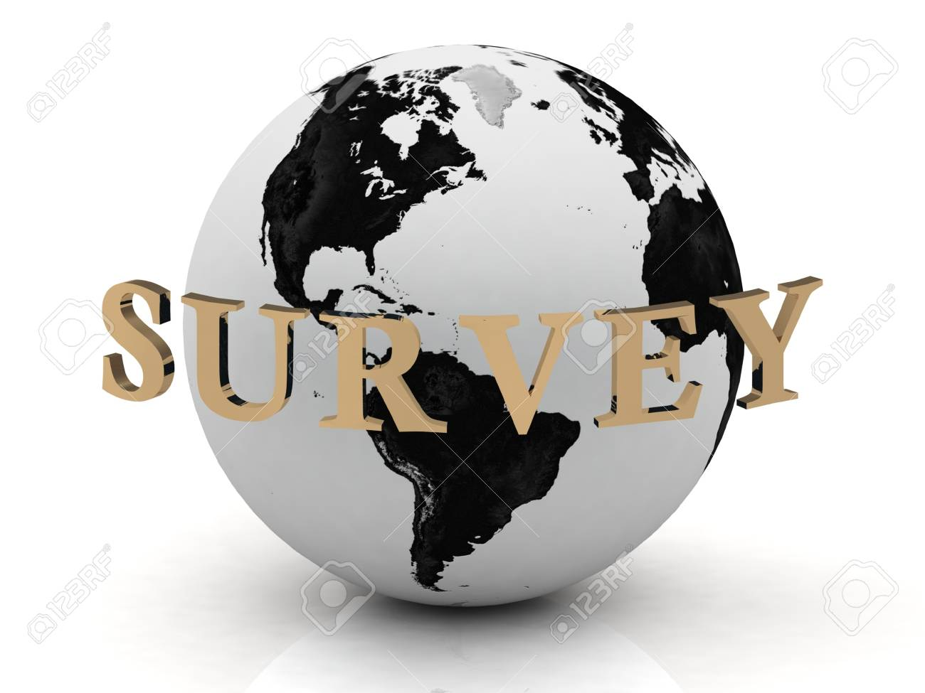 SURVEY abstraction inscription around earth on a white background Stock Photo - 14618983