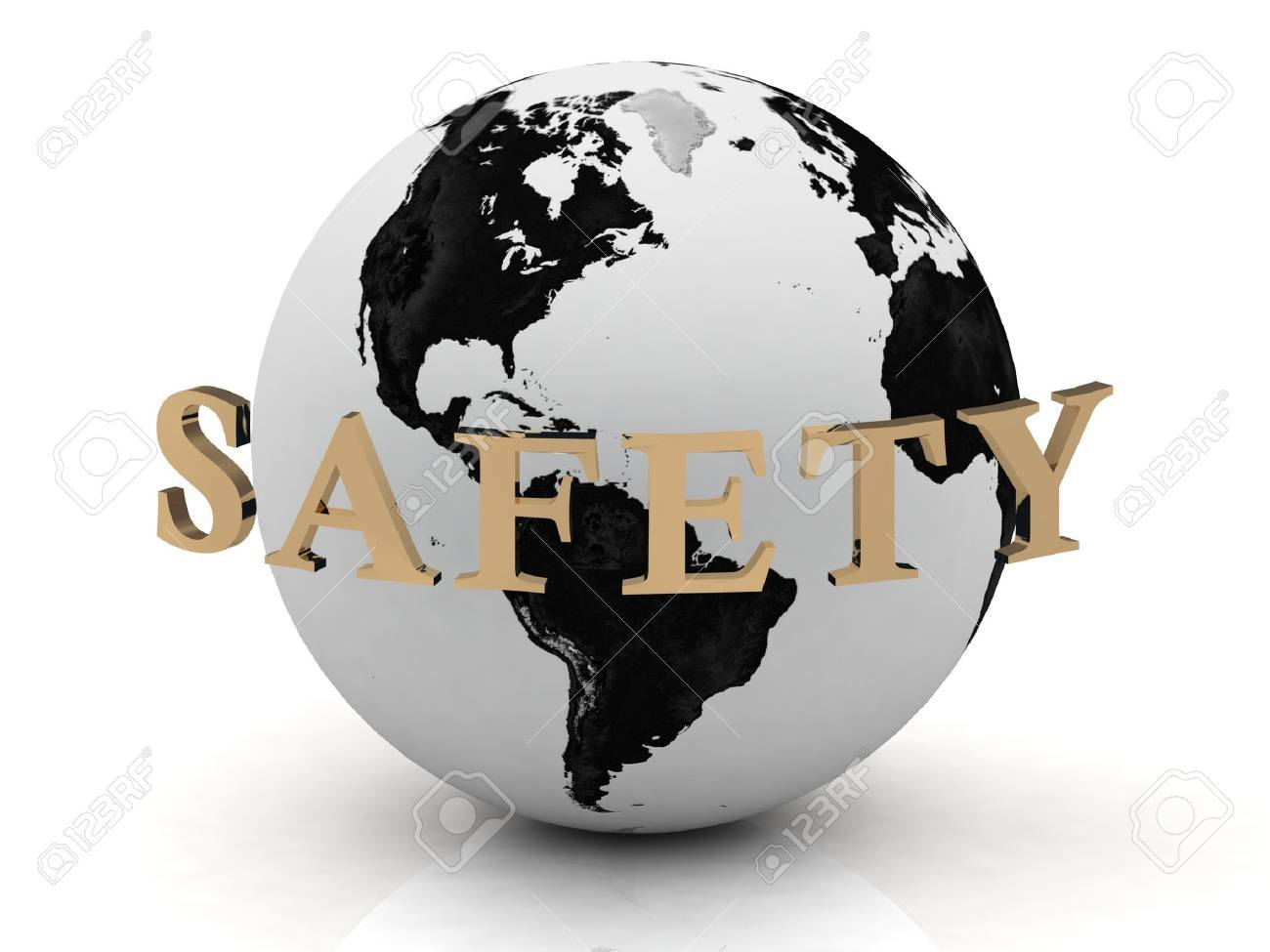 SAFETY abstraction inscription around earth on a white background Stock Photo - 14619088