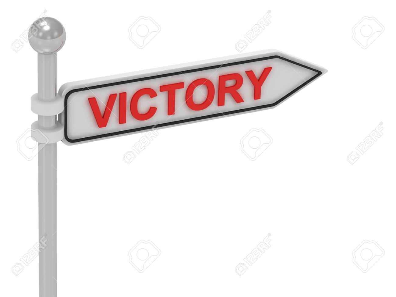 VICTORY arrow sign with letters on isolated white background Stock Photo - 14626296
