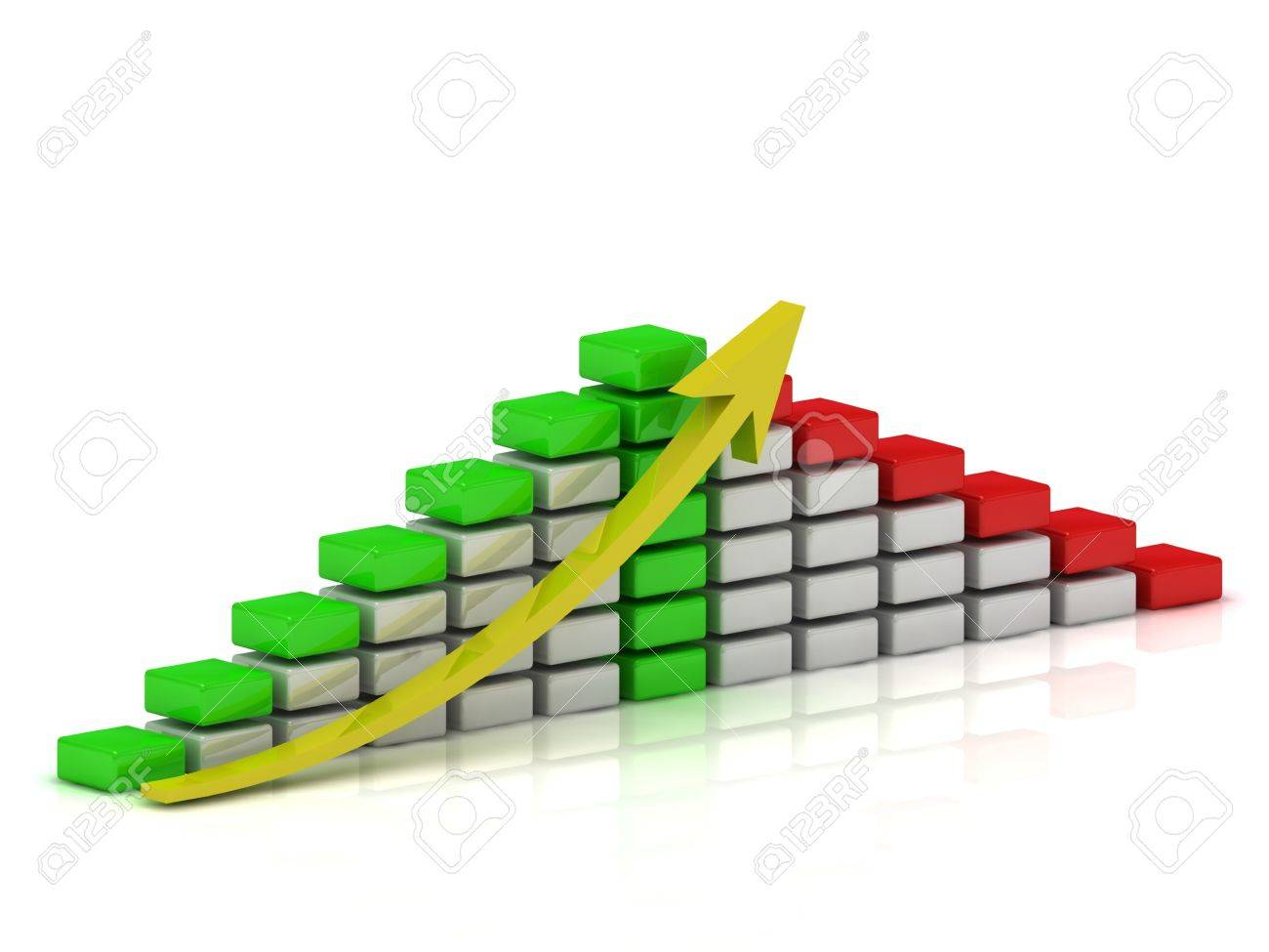 Business growth chart of the white, red and green blocks with a yellow arrow Stock Photo - 14615585