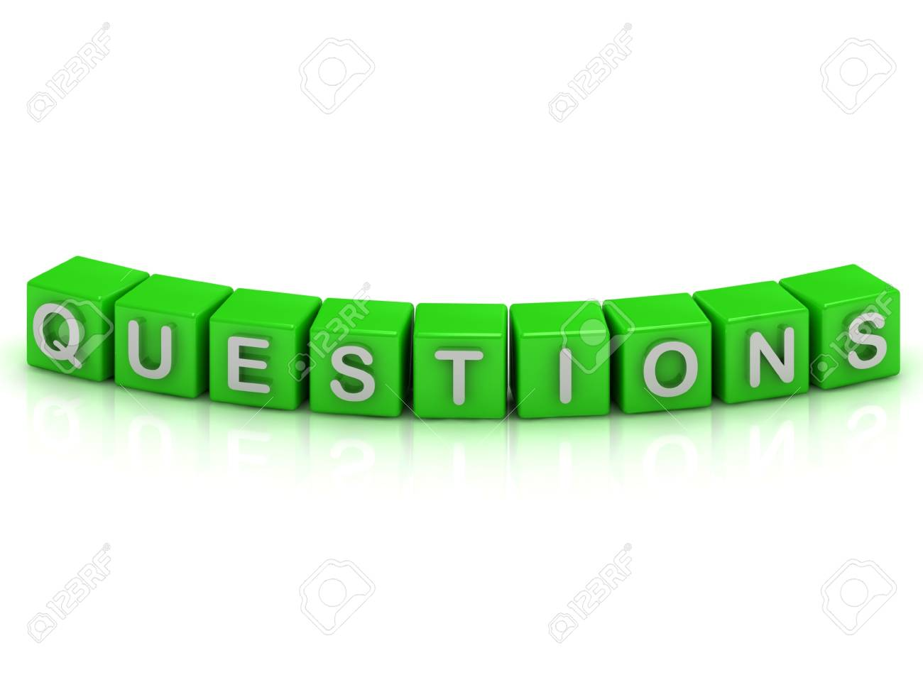 QUESTIONS inscription on the green cubes on a white background Stock Photo - 14626010
