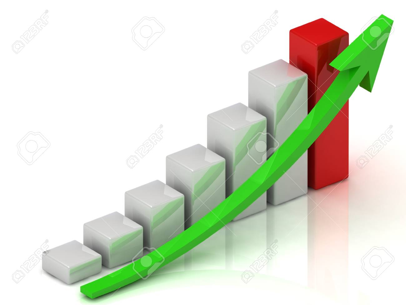 Business growth of white bars and green arrow Stock Photo - 14622882