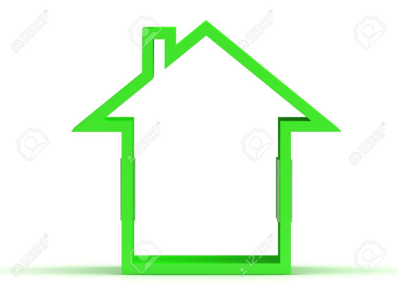 3d render of green house icon with window Isolated on white background Stock Photo - 14615526