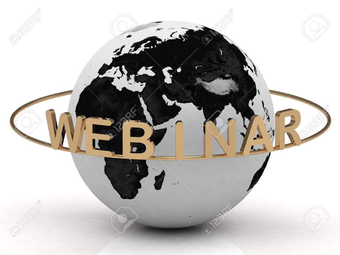 Gold Webinar and ring, abstraction of the inscription around the earth on a white background Stock Photo - 14618880