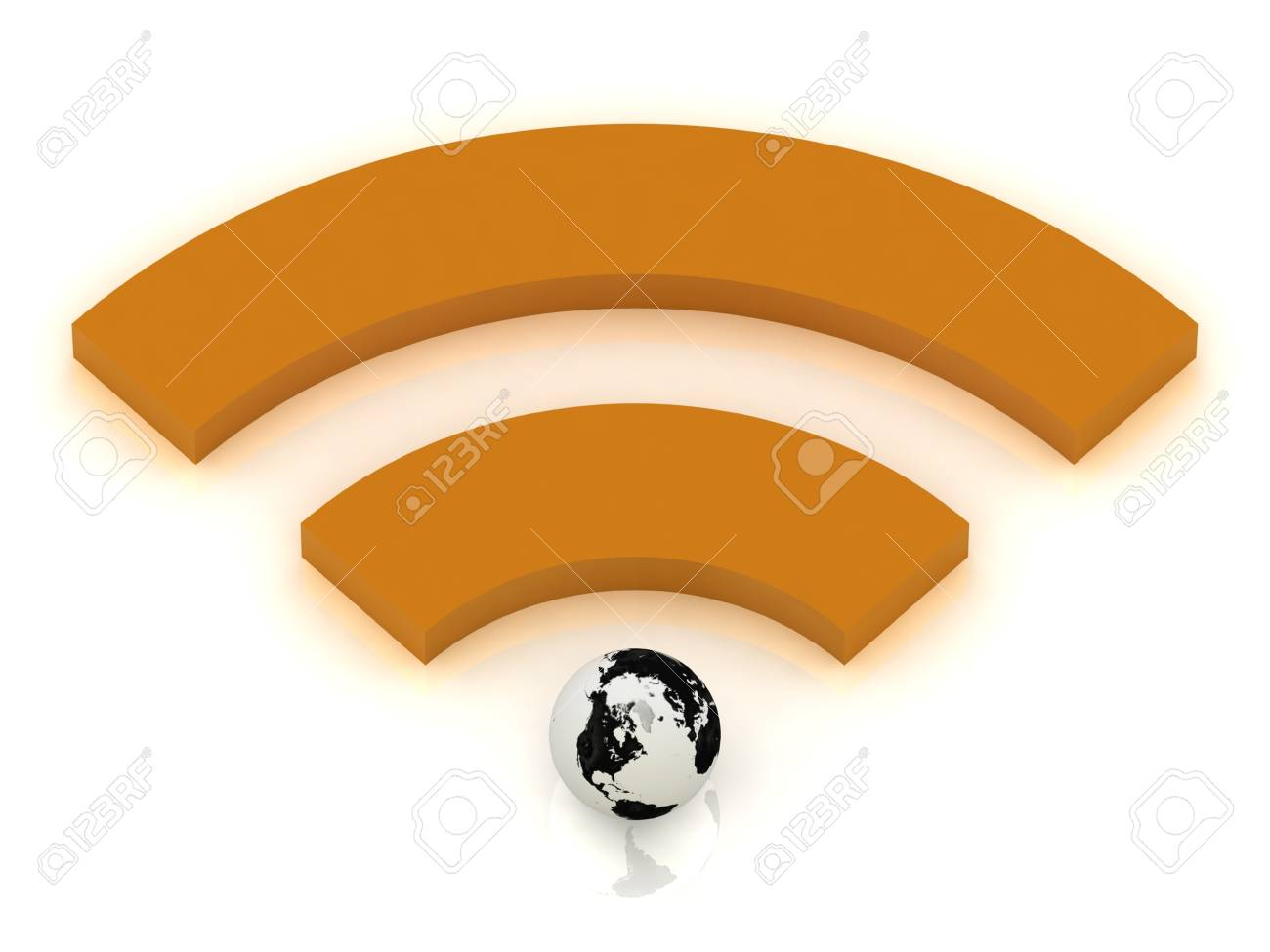RSS orange sign and the planet earth, 3D rendered Illustration Stock Illustration - 14623301