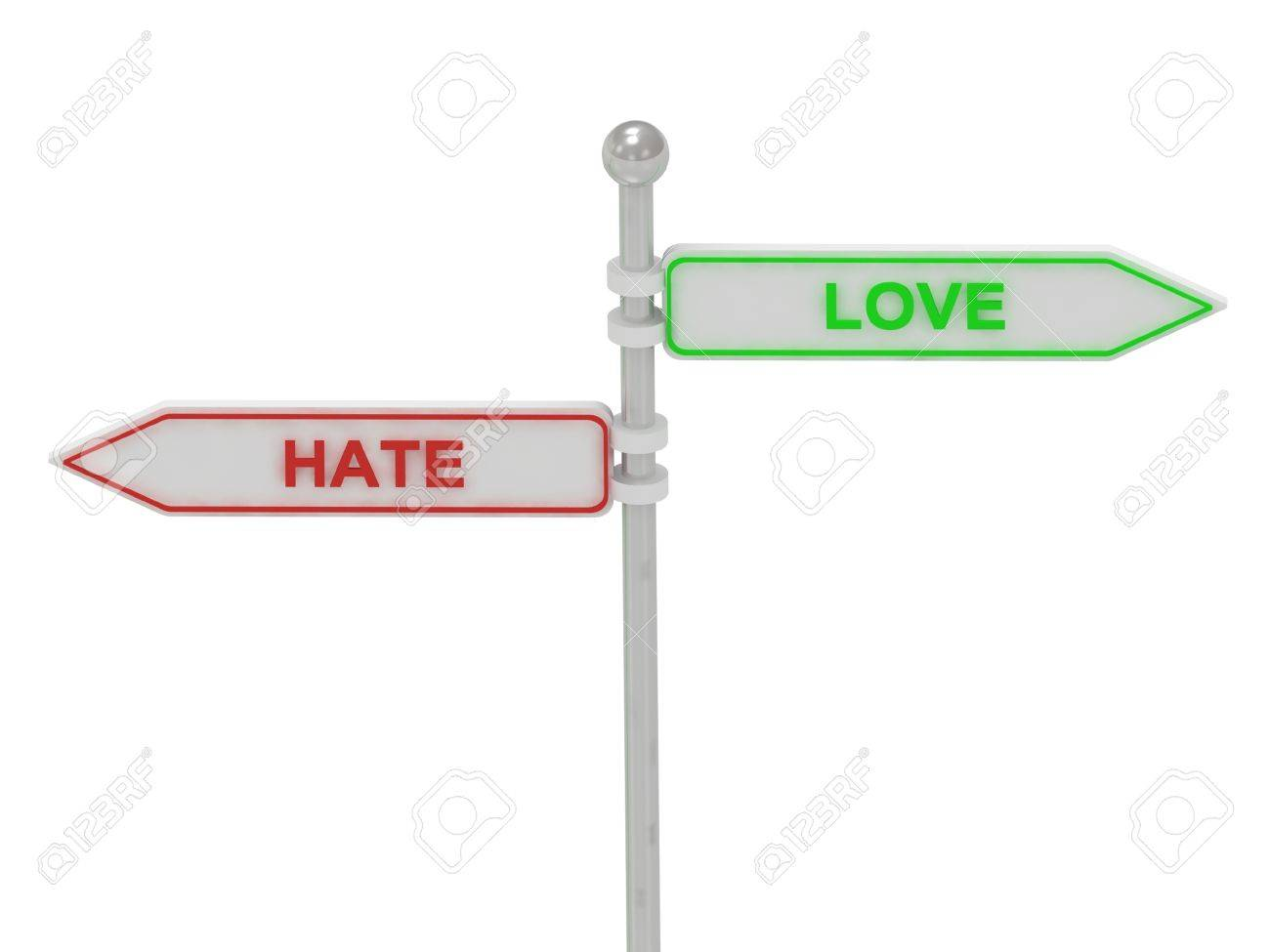 Signs with red hate and green love pointing in opposite directions, Isolated on white background, 3d rendering Stock Photo - 14615510