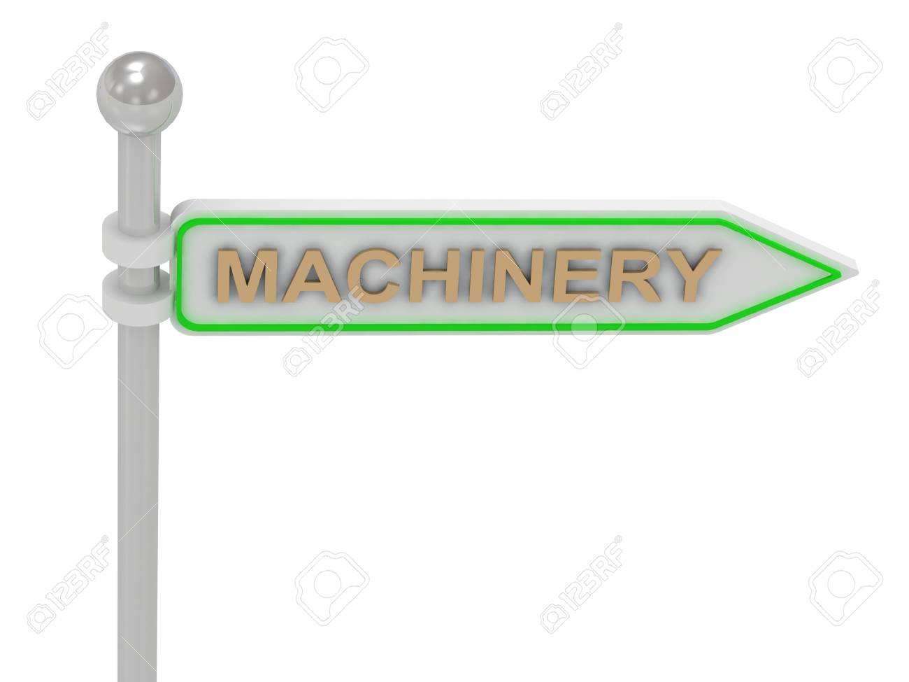 3d rendering of sign with gold MACHINERY Isolated on white background