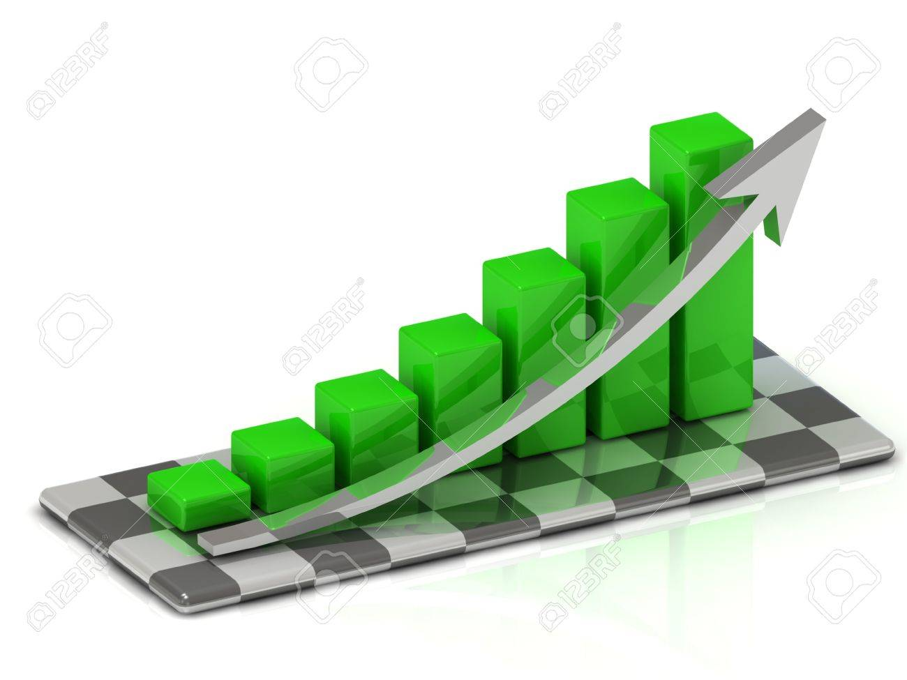 chart the growth of the green bars with an arrow on the chessboard Stock Photo - 14622886