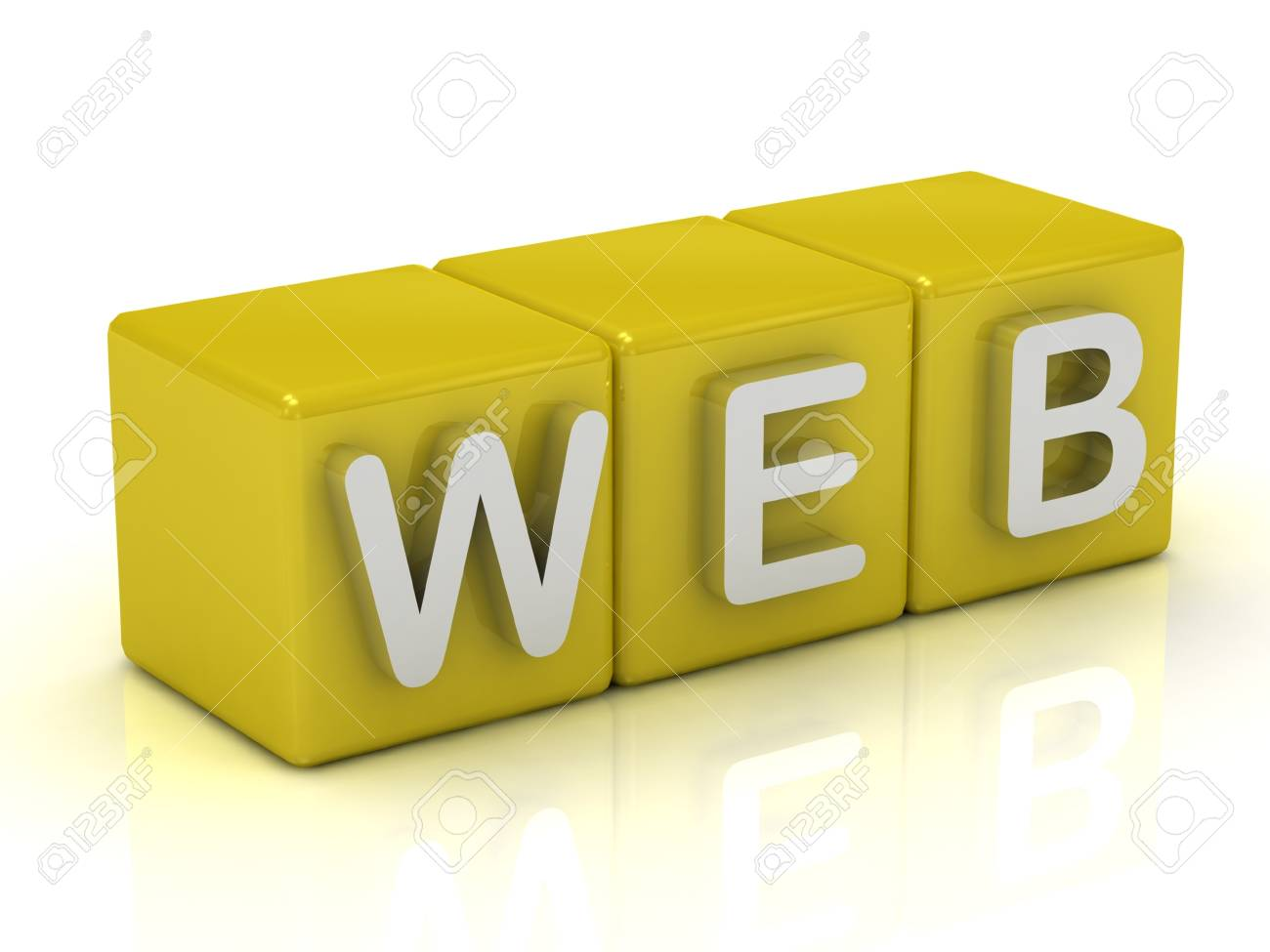 Inscription on the cubes of gold: WEB on a white background Stock Photo - 14622007