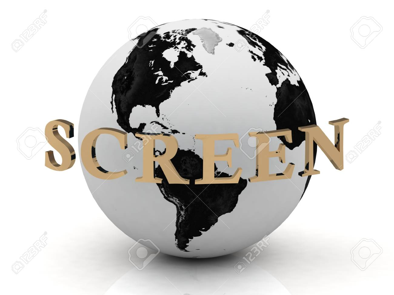 SCREEN abstraction inscription around earth on a white background Stock Photo - 14690333