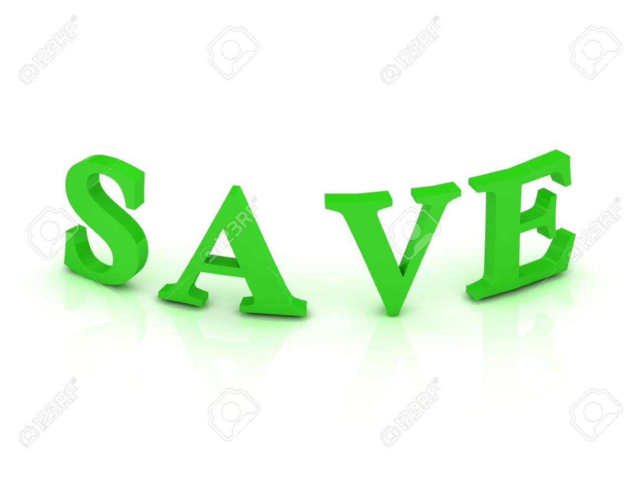 SAVE sign with green letters on isolated white background Stock Photo - 14688046