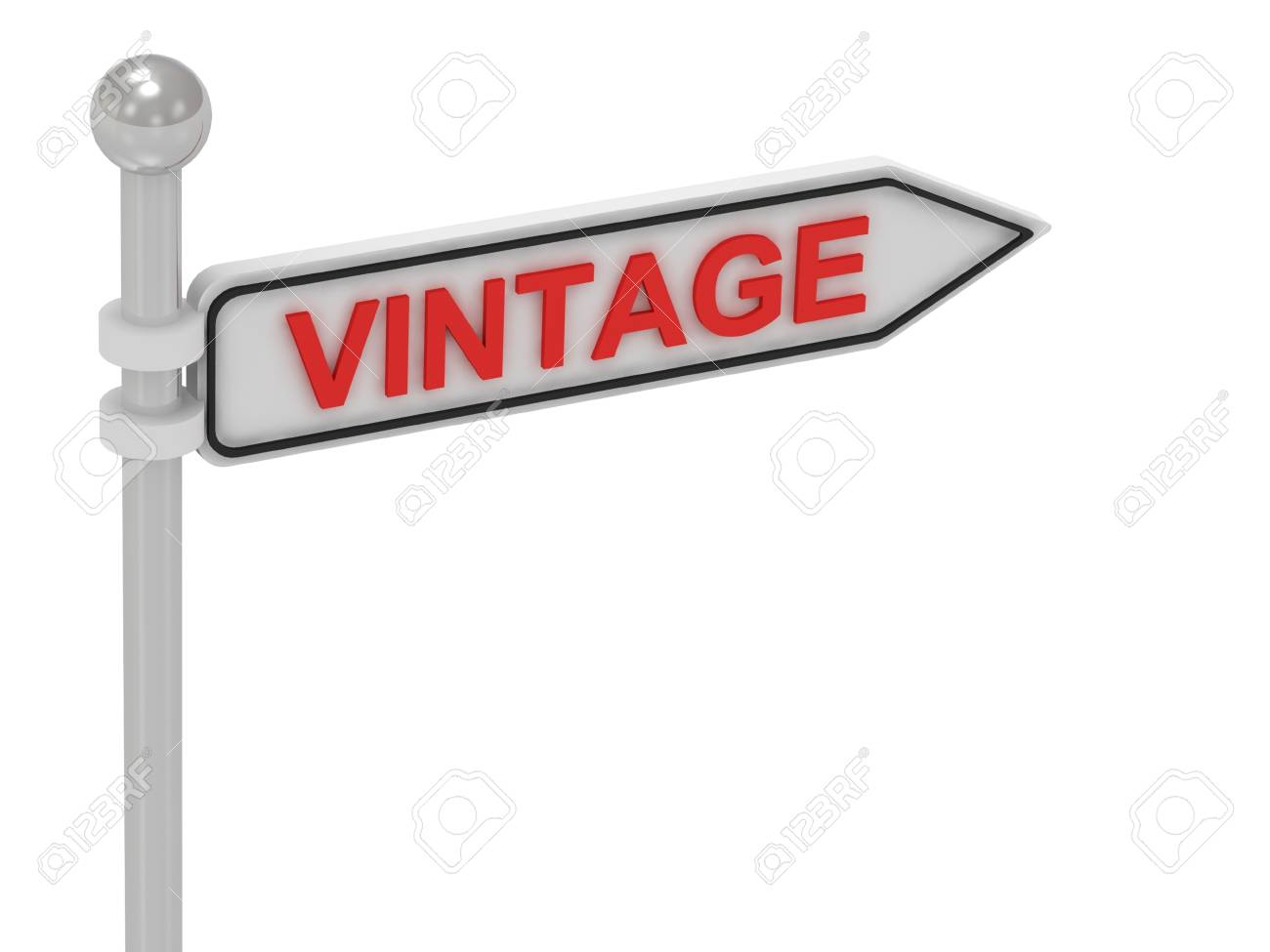vintage arrow sign with letters on isolated white background stock