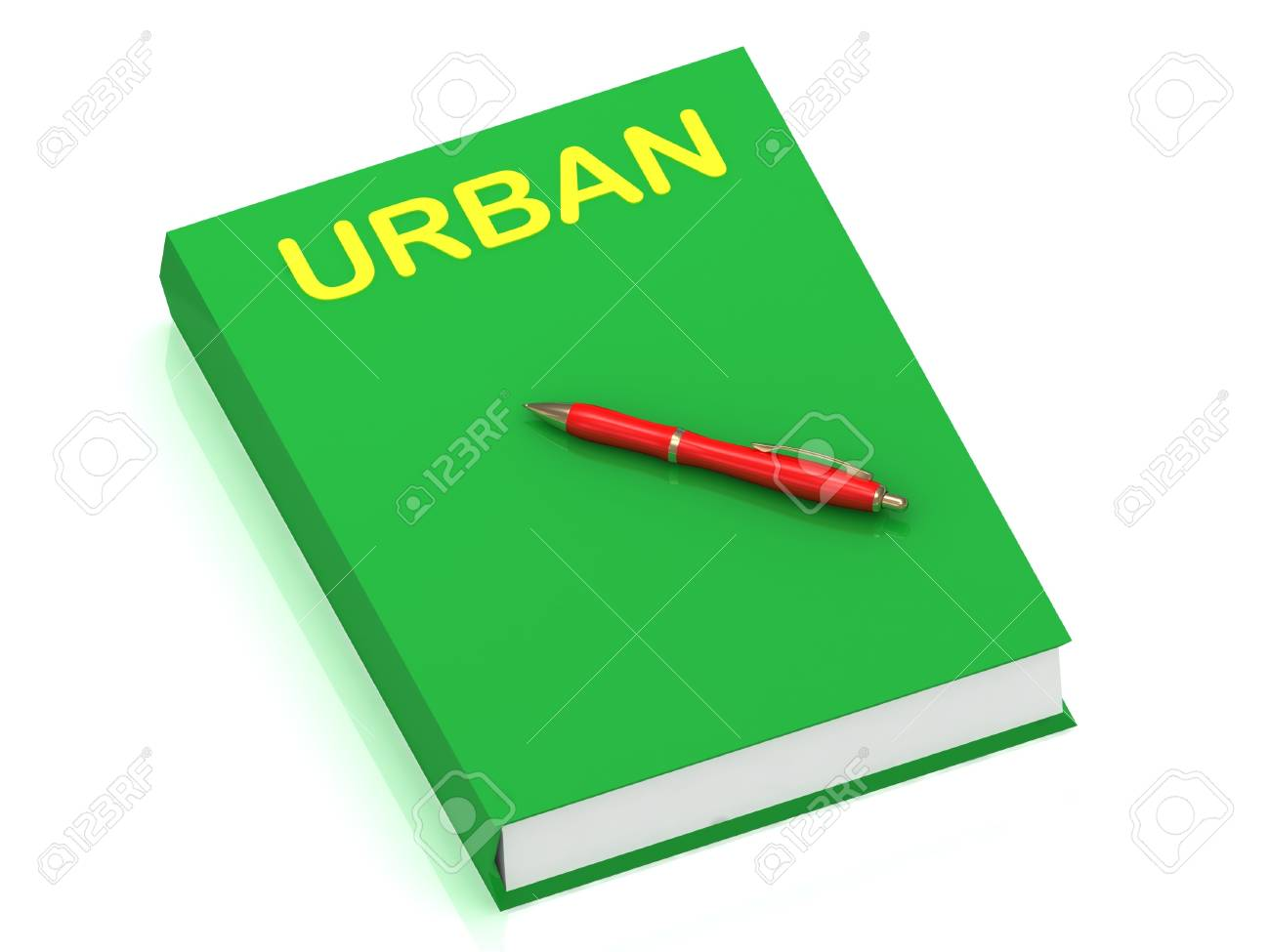 URBAN inscription on cover book and red pen on the book. 3D illustration isolated on white background Stock Photo - 14687611