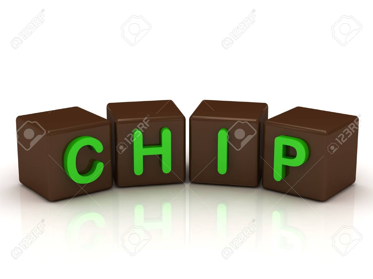 CHIP inscription bright green letters on the cubes of chocolate isolated on white background Stock Photo - 14687490