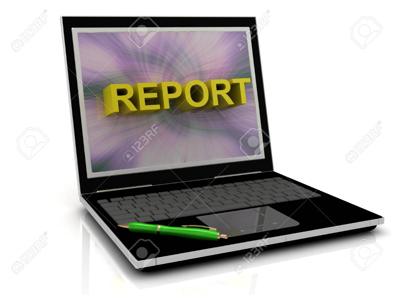 REPORT message on laptop screen in big letters. 3D illustration isolated on white background Stock Illustration - 14690002