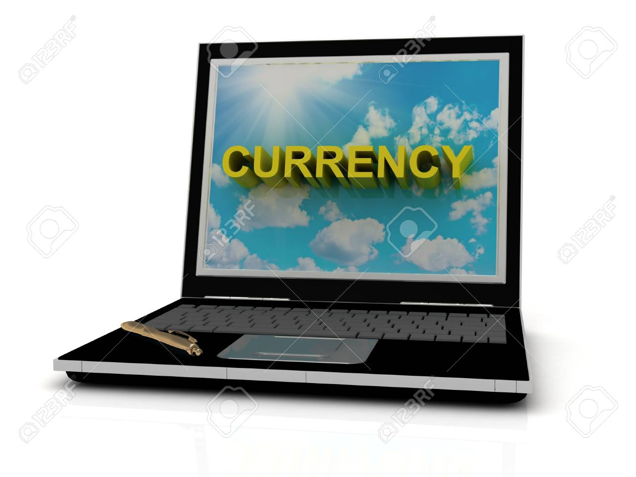 CURRENCY sign on laptop screen of the yellow letters on a background of sky, sun and clouds Stock Photo - 14861302