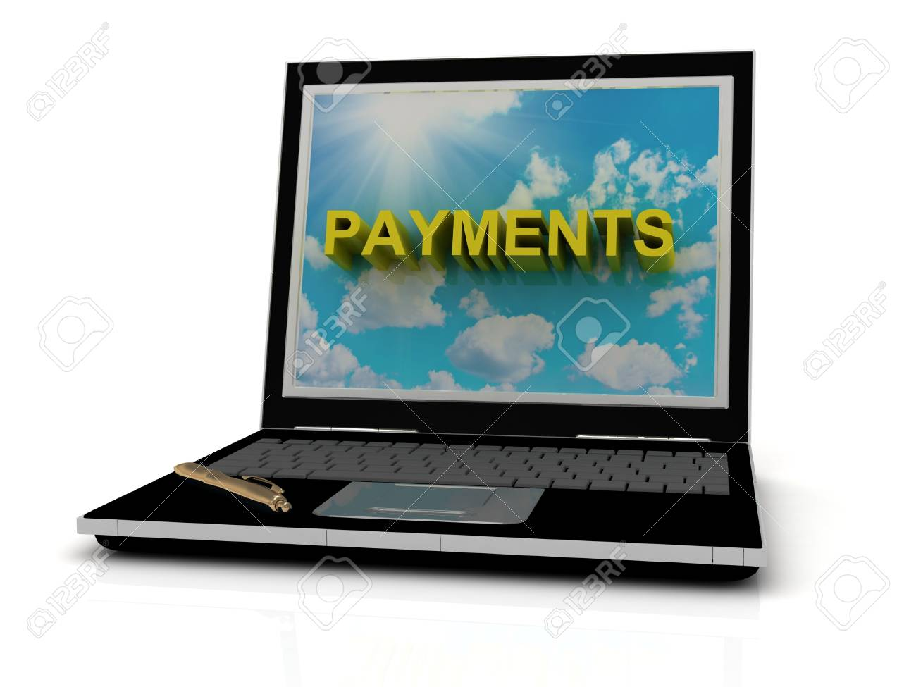 PAYMENTS sign on laptop screen of the yellow letters on a background of sky, sun and clouds Stock Photo - 14861141