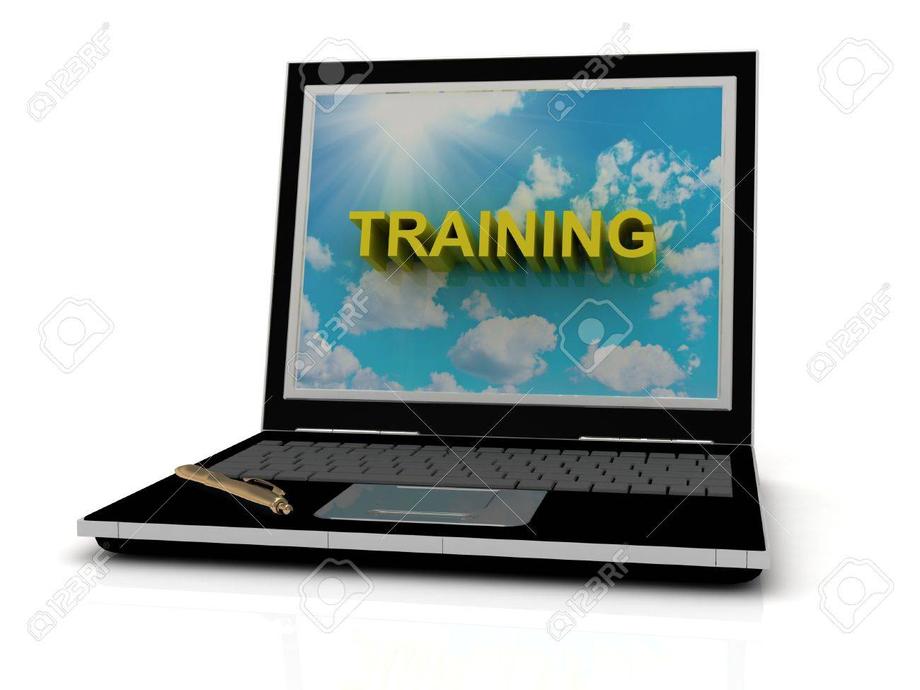 TRAINING sign on laptop screen of the yellow letters on a background of sky, sun and clouds Stock Photo - 14860836