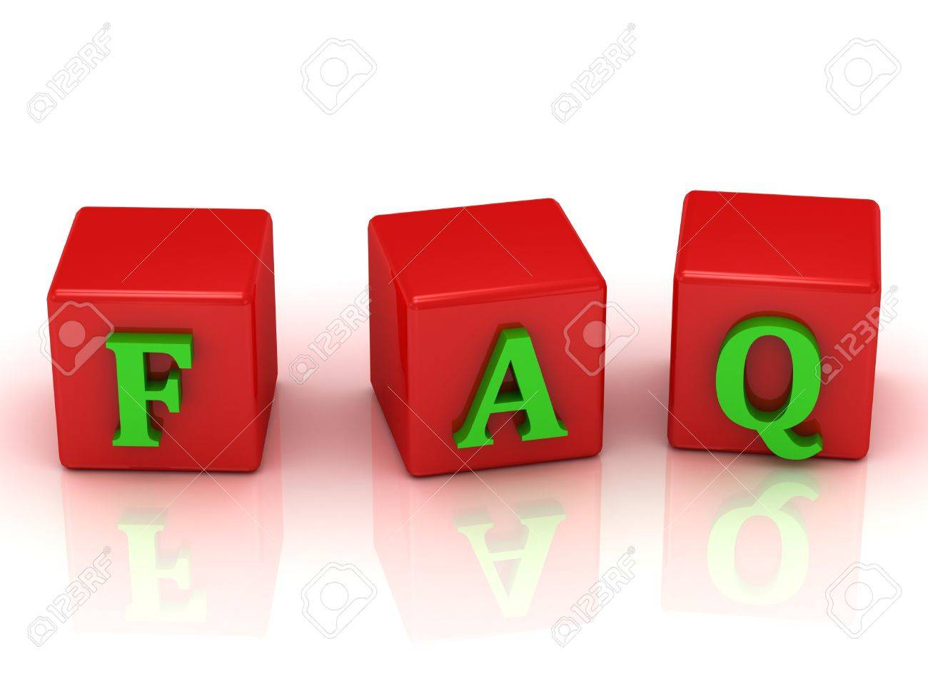 FAQ inscription green letters on bright red cubes Stock Photo - 18942225