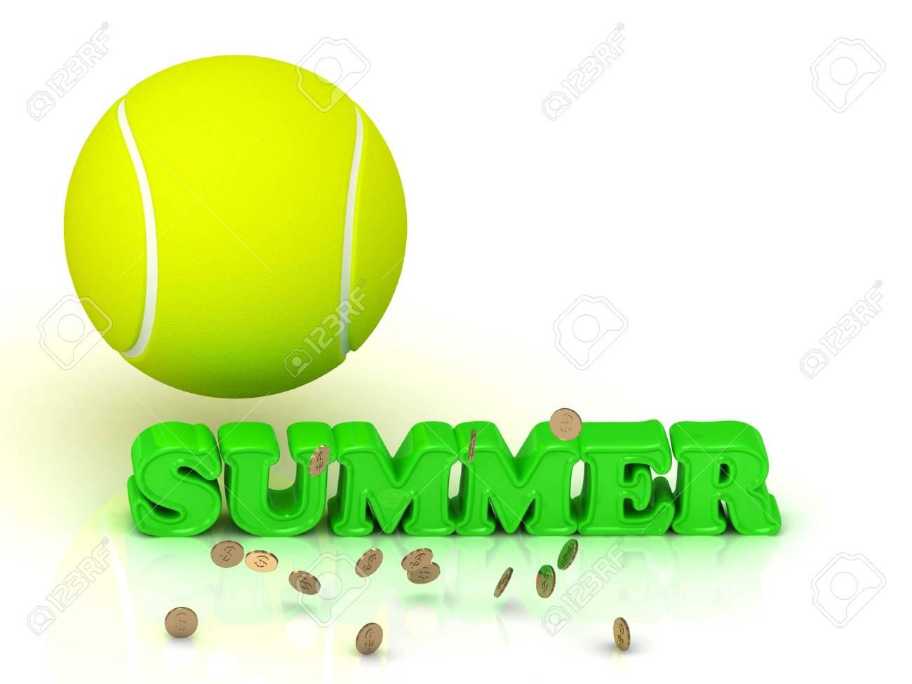 829020f76c9f7 Banque d'images - Lettres vertes ÉTÉ- lumineux, balle de tennis, monnaie  d'or sur fond blanc