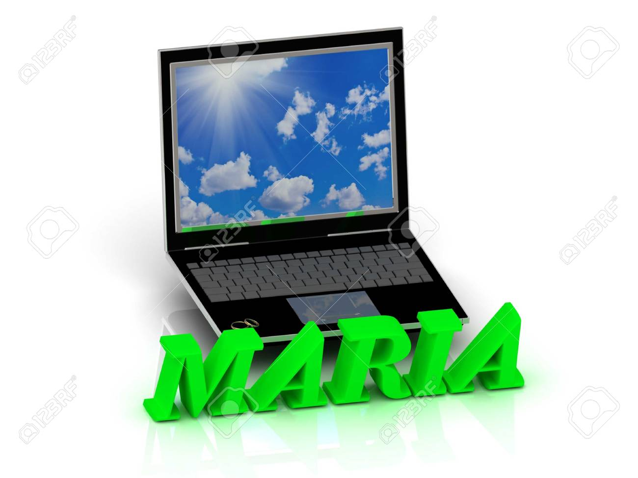 maria name and family bright letters near notebook and inscription