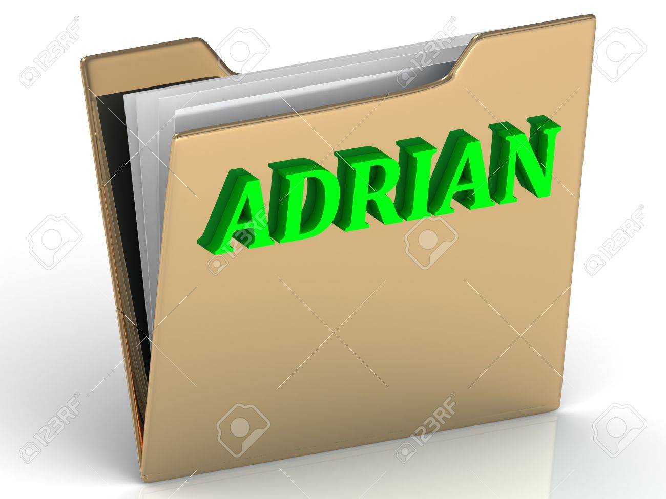 ADRIAN Bright Green Letters On Gold Paperwork Folder A White Background Stock Photo