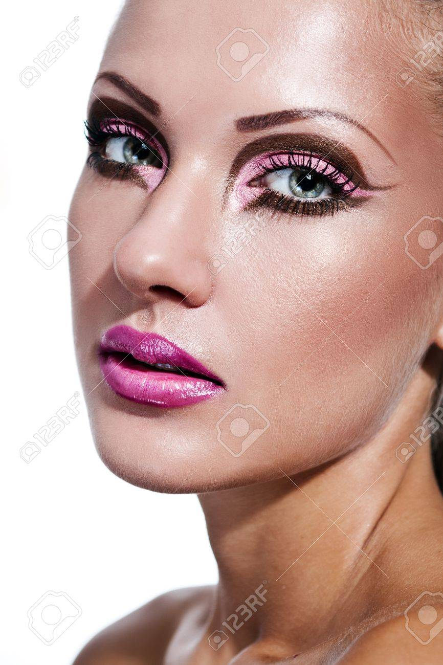 closeup portrait of a young beautiful woman with perfect clean skin and glamour makeup , fashion model Stock Photo - 15589663