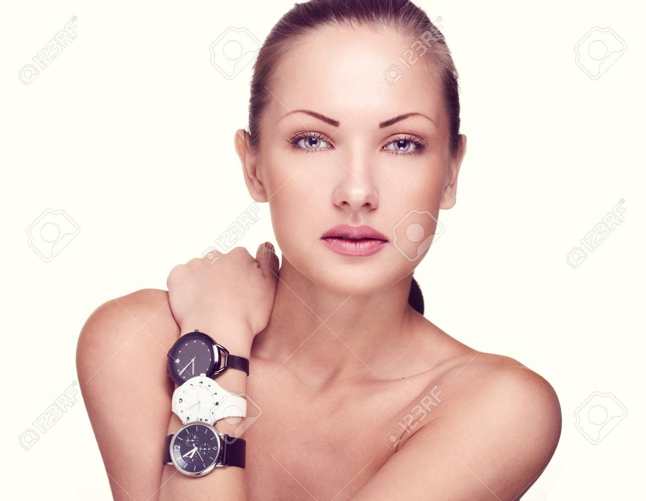 closeup portrait of a beautiful woman with fashion makeup Stock Photo - 15661606