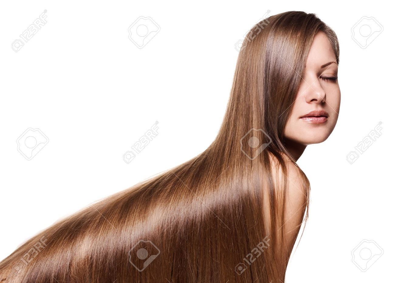 portrait of a beautiful woman with long healthy shiny straight hair , isolated on white Stock Photo - 15715012