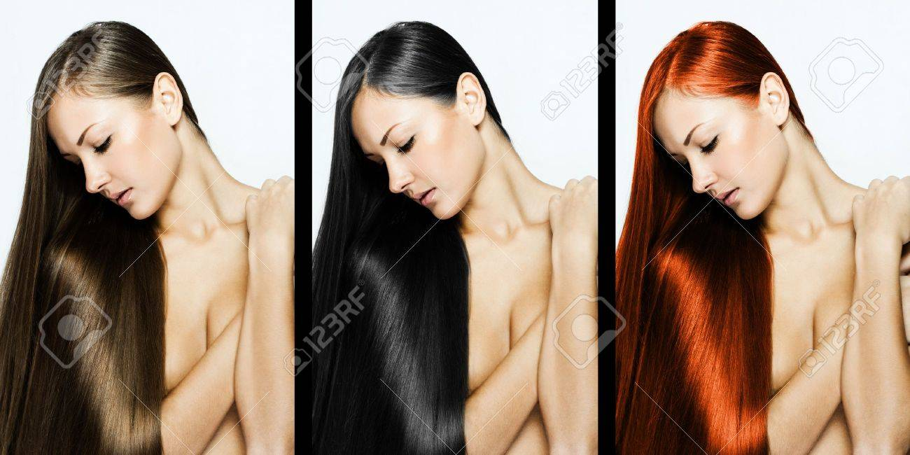 collage of a beautiful young woman , with long natural straight hair , mixed color , concept hairstyle Stock Photo - 15941511