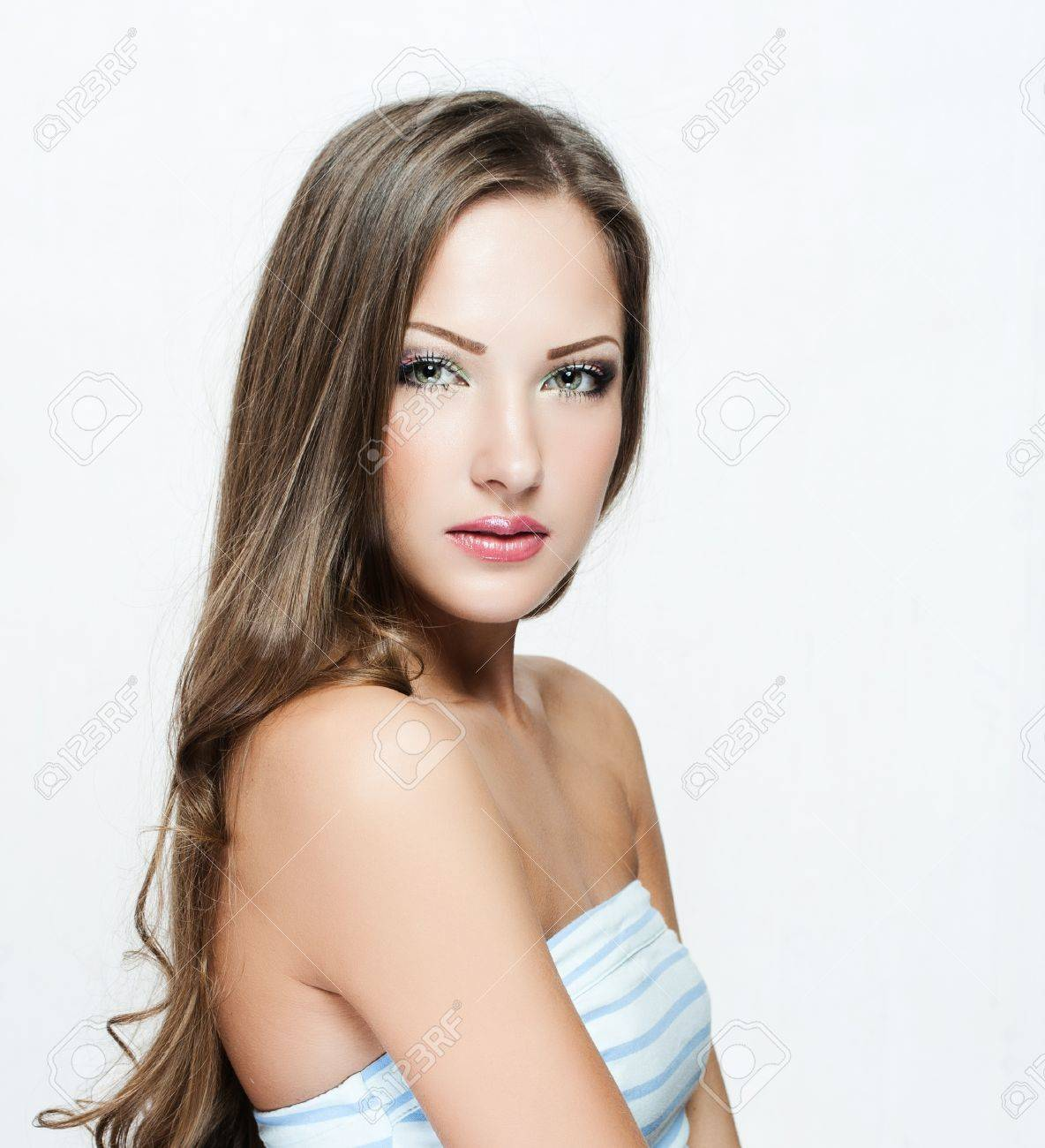 beautiful woman with long hair in dress , fashion model , glamour makeup Stock Photo - 17130166