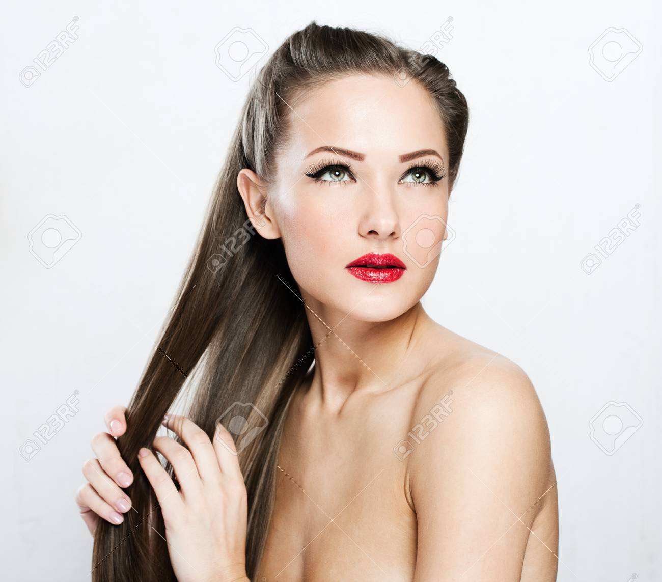 Beautiful Woman with Healthy Long Hair Stock Photo - 17751750