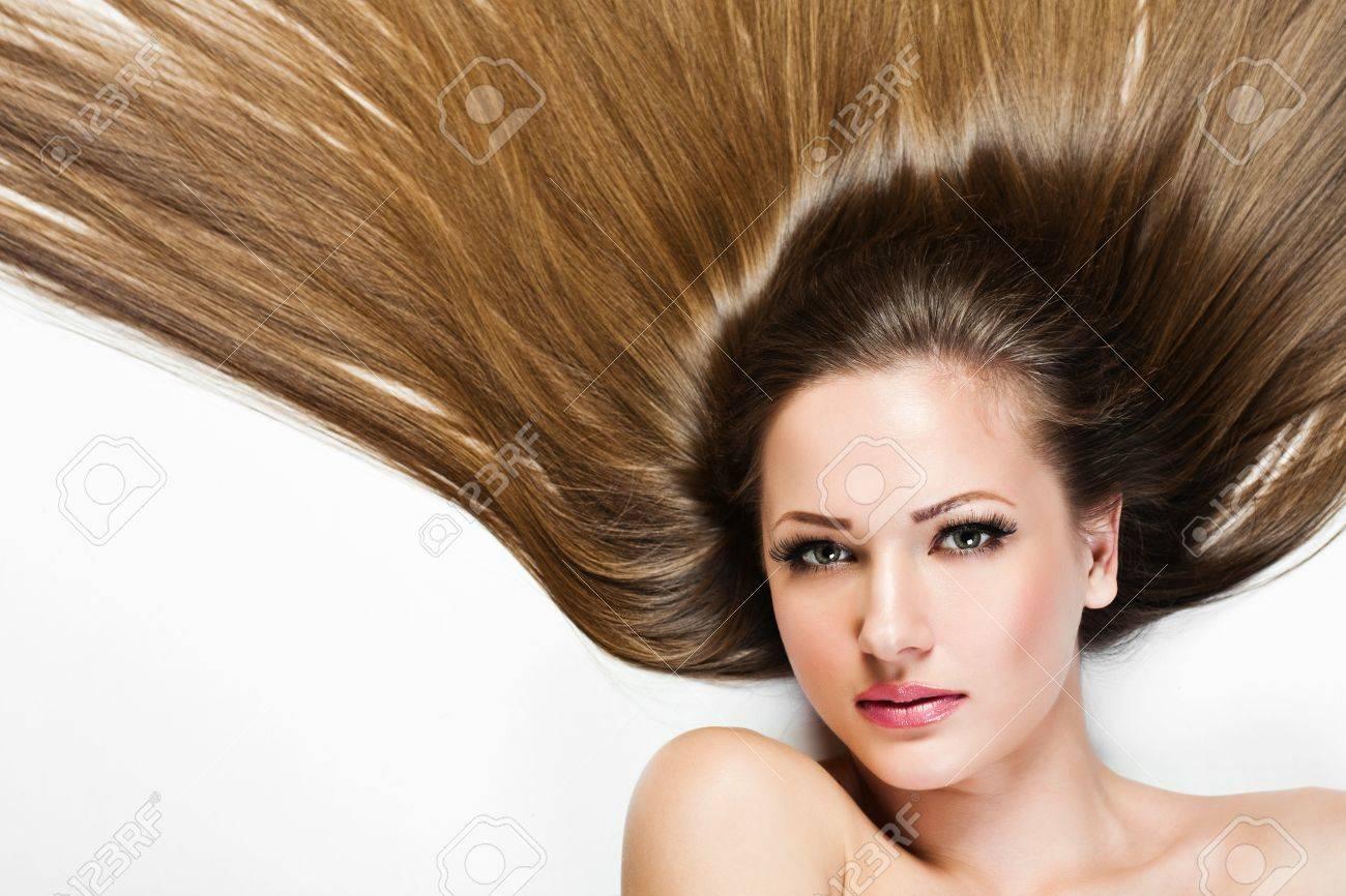 Belle Fille Brunette Saine Cheveux Longs Beaute Femme Modele