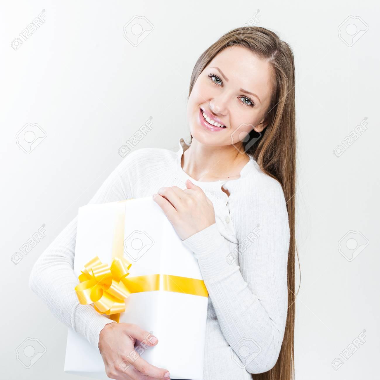 Glücklich Schöne Frau Weihnachten Mit Weihnachten Geschenke ...
