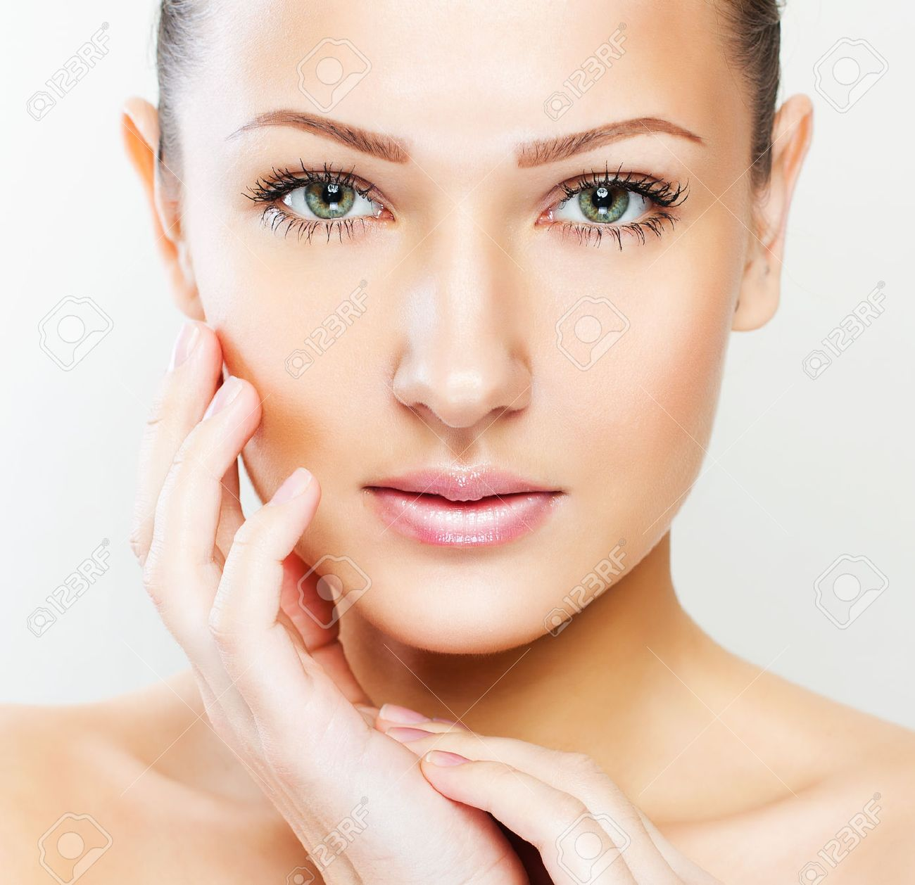 closeup portrait of a beautiful woman with beauty face and clean face skin , glamour makeup Stock Photo - 25373525